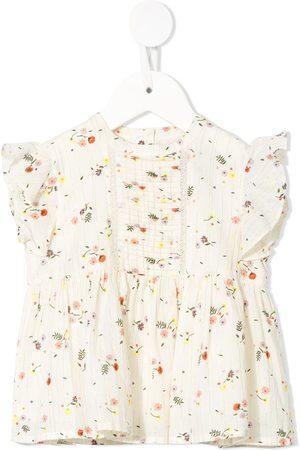 Velveteen Marigold floral frill blouse