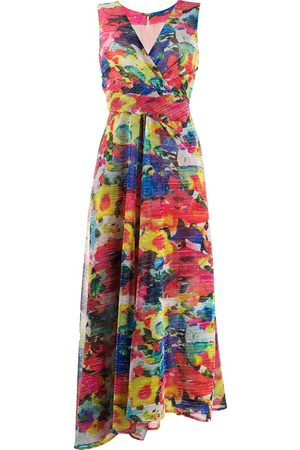TALBOT RUNHOF V-neck aquarell floral voile dress
