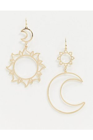 ASOS Earrings with moon and sun cut out drop in tone