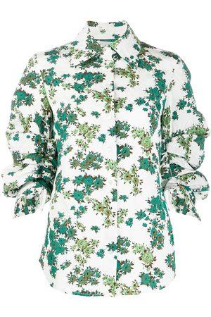 Victoria Victoria Beckham Floral print gathered sleeve shirt