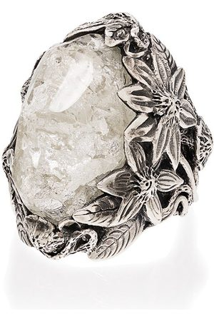 Lyly Erlandsson Winter Leaf sterling crystal ring