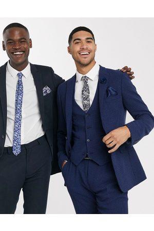 ASOS Wedding super skinny suit waistcoat in wool blend micro houndstooth