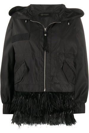 Mr & Mrs Italy Feather-trim hooded jacket