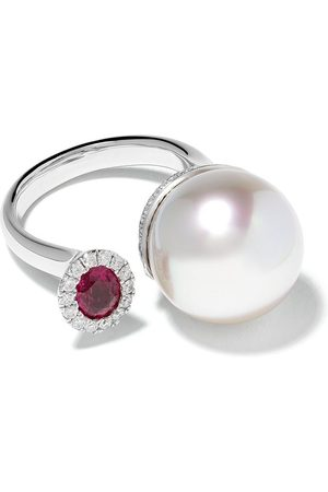Yoko London 18kt white gold Belgravia South Sea pearl, diamond and ruby ring