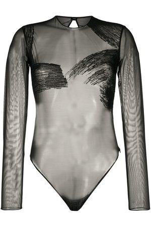 Gianfranco Ferré 1990s sheer long-sleeved bodysuit