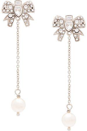 Miu Miu Micro bow crystal pendant earrings