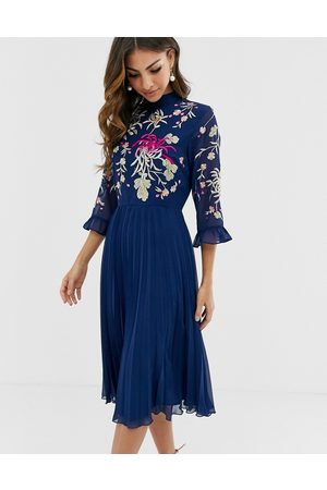 ASOS Embroidered pleated midi dress with fluted sleeve in navy