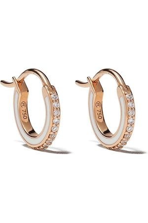 Raphaele Canot 18kt rose gold Skinny Deco diamond and enamel mini hoops
