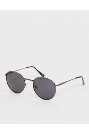 ASOS Metal round sunglasses in gunmetal with smoke lens