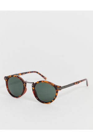 ASOS Men Sunglasses - Festival round sunglasses in tort with smoke lens