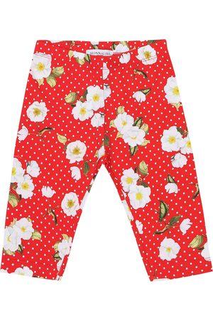 MONNALISA Baby Leggings - Baby floral stretch-cotton leggings
