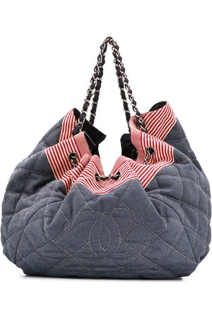 CHANEL 2008-2009 diamond quilted drawstring tote