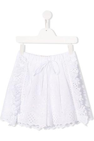 Alberta Ferretti Embroidered ruffled shorts
