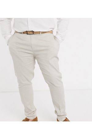 ASOS Men Skinny Pants - Plus wedding super skinny suit trousers in stretch cotton linen in