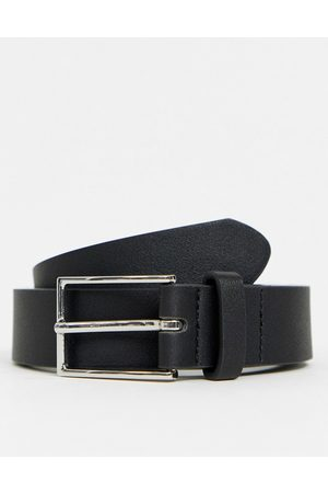 ASOS DESIGN Slim belt in faux leather with silver buckle