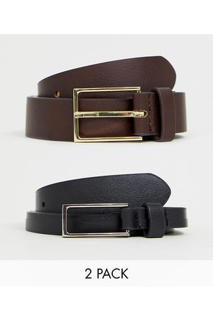 ASOS 2 pack smart slim belt in black and brown faux leather SAVE