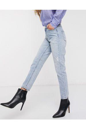 Vero Moda High waist ankle grazer mom jean in light