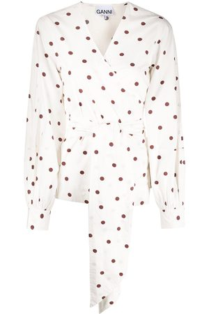 Ganni Polka dot wrap shirt