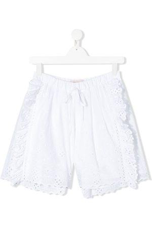 Alberta Ferretti TEEN embroidered ruffled shorts