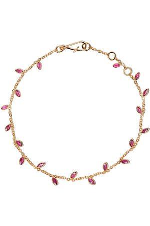 ANNOUSHKA 18kt yellow gold Vine Leaf ruby bracelet