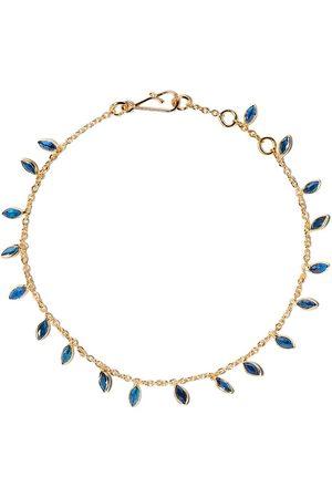 ANNOUSHKA 18kt yellow gold Vine Leaf sapphire bracelet