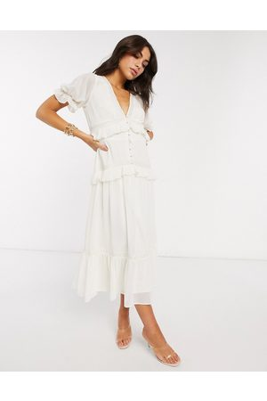 ASOS DESIGN Button through lace insert tiered midi dress in ivory