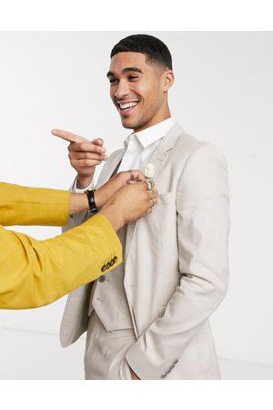 ASOS Wedding super skinny suit jacket in stretch cotton linen in