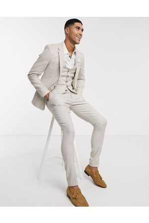 ASOS Men Skinny Pants - Wedding super skinny suit trousers in stretch cotton linen in