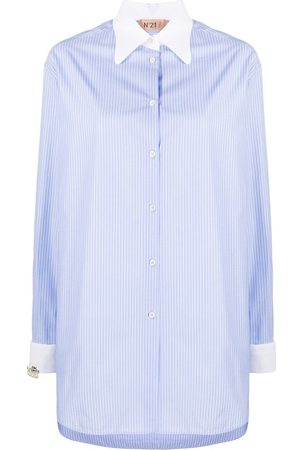 Nº21 Pinstriped long-line shirt