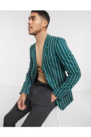 ASOS Super skinny blazer in forest stripe with gold buttons