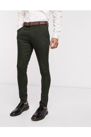 ASOS Wedding super skinny wool mix suit trousers in khaki herringbone