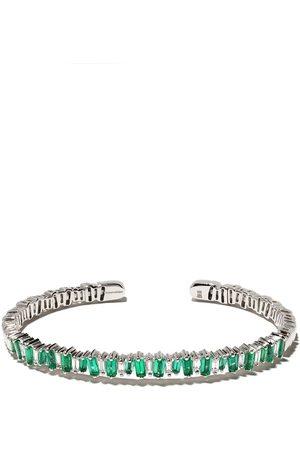 Suzanne Kalan 18kt Flexible emerald and diamond baguette cuff