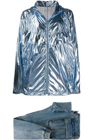 JUUN.J Metallic lightweight jacket and tapered jeans set
