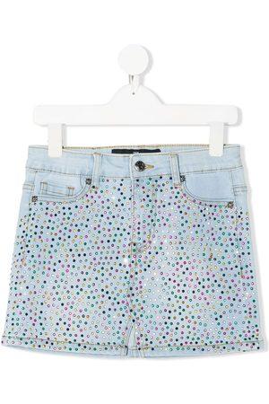 John Richmond Junior Girls Denim Skirts - Crystal embellished denim skirt