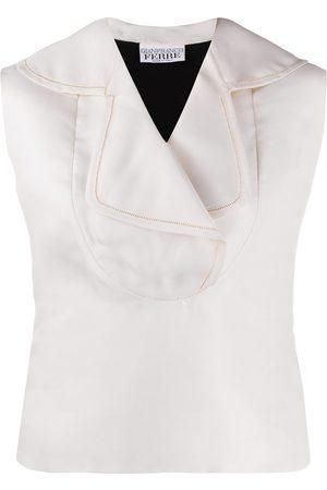 Gianfranco Ferré 1990s sleeveless two-tone blouse