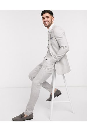 ASOS Wedding super skinny suit trousers in stretch cotton linen in check