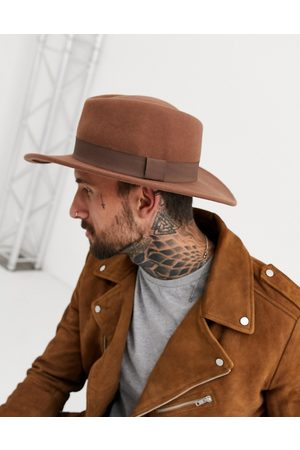 ASOS Wide brim pork pie hat in camel with band
