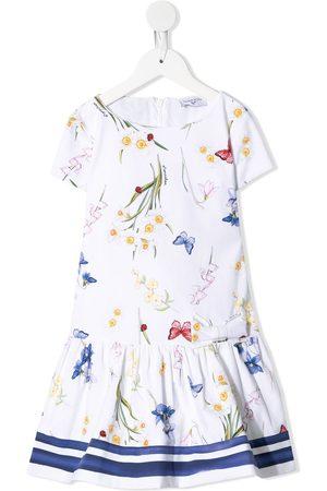 MONNALISA Butterfly print dropped-waist dress