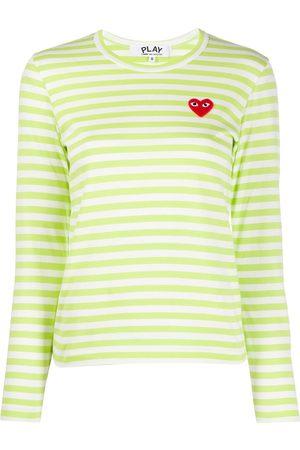 Comme des Garçons Heart print striped T-shirt