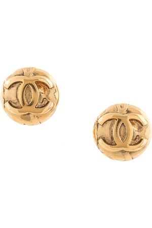 CHANEL 1996s CC logo button earrings