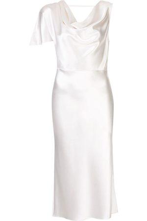 FLEUR DU MAL Women Asymmetrical Dresses - Asymmetric silk midi dress