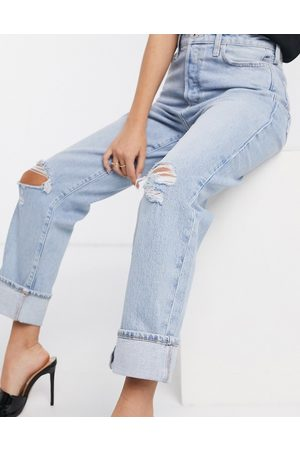 River Island Super high rise straight leg ripped jeans in light