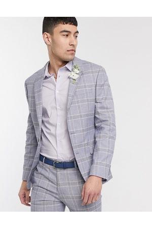 ASOS Wedding super skinny suit jacket in linen windowpane check