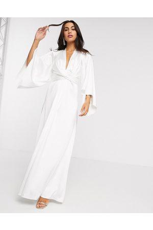 ASOS Extreme cape sleeve maxi wedding dress in ivory