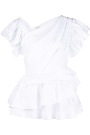 Alexander McQueen V-side neck ruffled T-shirt
