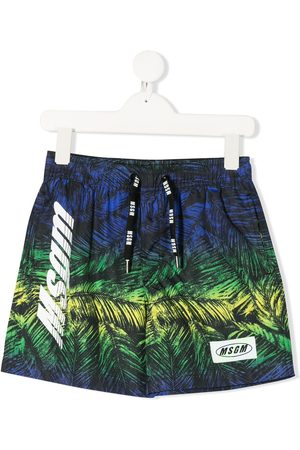 Msgm Boys Swimming Briefs - Foliage-print logo swimming shorts