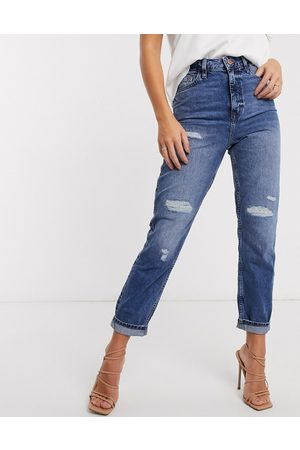 River Island Carrie ripped high rise mom jeans in mid auth