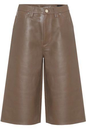 Goldsign Women Bermudas - High-rise leather Bermuda shorts