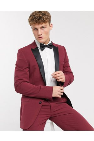 ASOS Super skinny tuxedo suit jacket in burgundy
