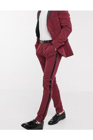 ASOS Super skinny tuxedo suit trousers in burgundy
